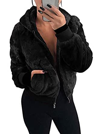 NVXIYYA Women Fuzzy Shaggy Jacket Thick Warm Faux Fur Parka Coat Trench Coat with Hoodies and Pockets Black M