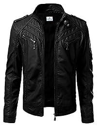 VearFit Premadure Black Faux Leather Biker Jacket for Men Regular Big & Tall