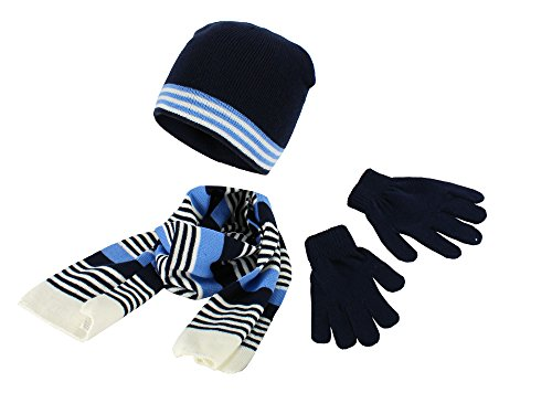 Polar Wear Boys Knit Hat, Scarf And Gloves Set,OS. Navy,White,Blue (Boys Hats And Gloves)