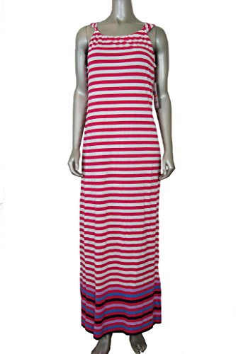 Tommy Hilfiger Women's Striped Scoop Neck Maxi Dress Bright Rose S
