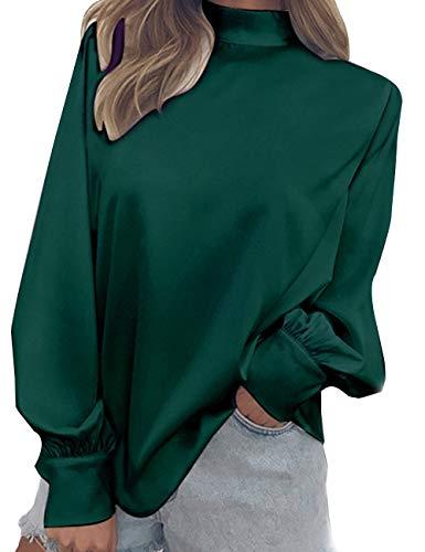 Col Casual Vert Grande lgant Tops Chic Hauts Blouse Taille Mock Manche Tee Longue T Manchon Lanterne Shirts Femme Chemise Mousseline Soie Neck de Chemisier Roul Tunique wC6qXp4
