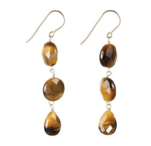 Tiger's Eye Trio Dangle Earrings on 14k Gold Filled French (14k Tigers Eye Ring)