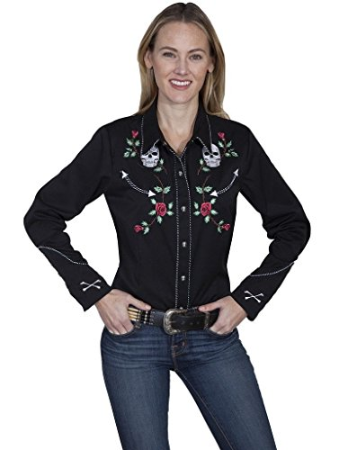 Ladies Skull/Rose Embroidery Blouse Color: Black Size: XL