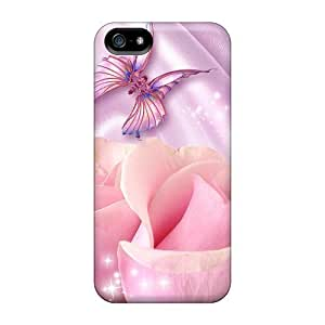 Awesome OyQEchw1736iZBVe Mialisabblake Defender Tpu Hard Case Cover For Iphone 5/5s- Pink Roses On Lavender Satin