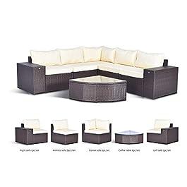 Gotland 6-Piece Outdoor Furniture Sectional Sofa &...