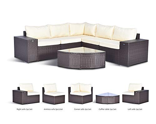 Gotland 6-Piece Outdoor Furniture Sectional Sofa & Glass Coffee Table(Dark Brown),with Washable Cushions for Backyard,Pool,Patio| Incl. Dust Cover & Clips