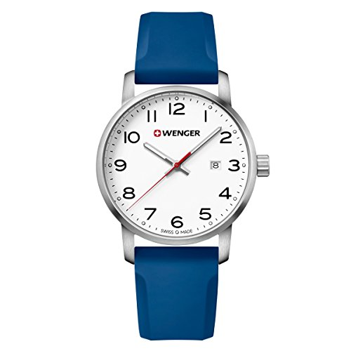 Wenger 01.1641.107 Men's Avenue White Dial Blue Silicone Strap Watch