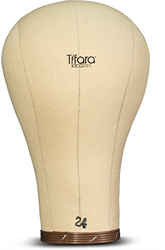 Tifara Beauty Professional Canvas Cork Mannequin Block Head Wig Display with Mount Hole, 11.5' Long Neck (24') (Blocks Millinery Hat)