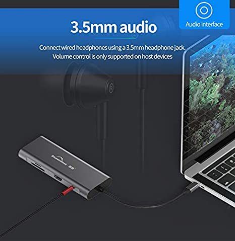 YUTALOW USB C Hub 3 USB 3.0 Ports Compatible for MacBook Pro XPS More Type C Devices Type-C PD Charging SD//TF Card Reader 5-in-1 Aluminum USB C Adapter with 4K HDMI Output