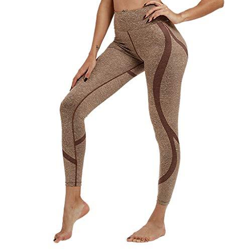 Women's High Waist Yoga Pants Stretch Tummy Control Sports Workout Casual Leggings Capri Trousers (Coffee, XL)