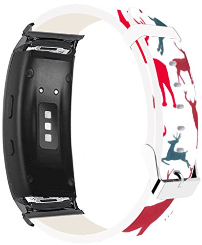 Bands for Gear Fit2 Pro & Compatible Leather Strap for Samsung for Galaxy Gear Fit 2/Fit 2 Pro Strap Black Connectors Reindeer Animal Theme