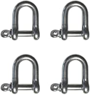 """4 Pieces Stainless Steel 316 Forged D Shackle Marine Grade 1/4"""" (6mm"""