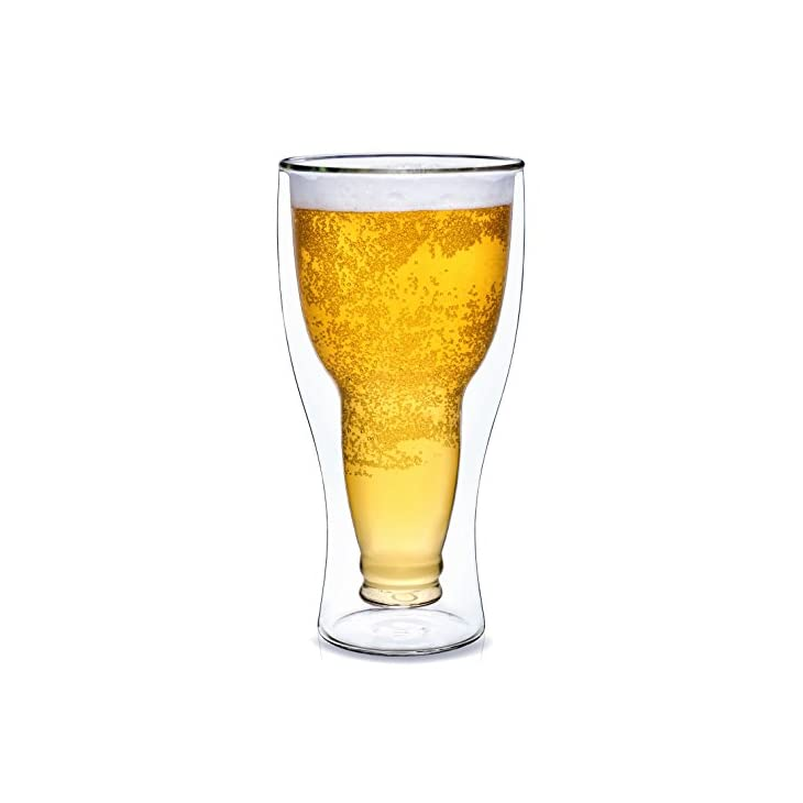 Dragon Glassware Beer Glass, 13.5-Ounce Double Wall Insulated Glass, Gift Boxed