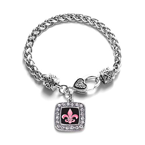Inspired Silver - Fleur De Lis Braided Bracelet for Women - Silver Square Charm Bracelet with Cubic Zirconia Jewelry