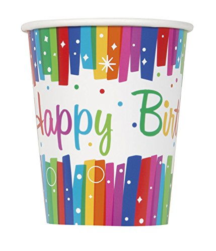 9oz Rainbow Ribbons Birthday Party Cups, 8ct (Birthday Party Cups compare prices)
