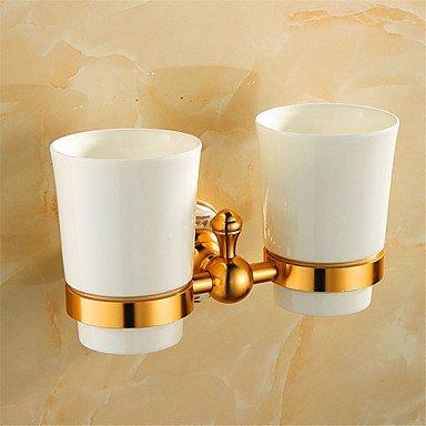 TBHCJ Porta cepillo de dientes,Portacepillos de pared oro antiguo baño montado con copas de cristal: Amazon.es: Hogar