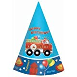 : Fire Engine Fun Cone Hats, 8ct