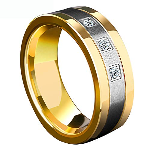- mensring Matte Yellow Gold Plated 8mm Titanium Steel Mens Ring 3pcs Cz Wedding Band Man Ring