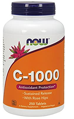 NOW Foods Vitamin C-1000 Sustained Release with Rose Hips, 250 Tablets