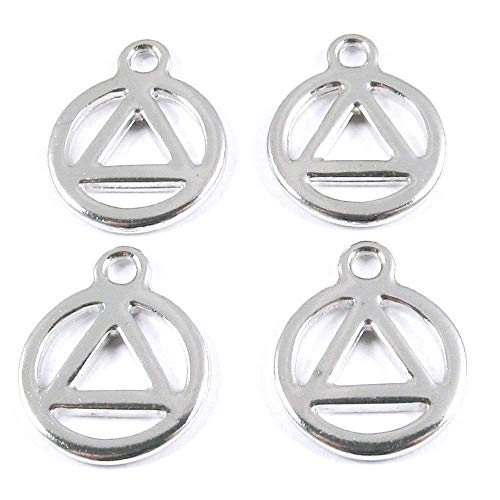 (TierraCast Pewter Triangle in Circle Charms-Silver Recovery Symbol (10))
