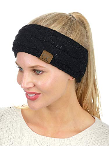 Fleece Headband Ear Warmer - C.C Soft Stretch Winter Warm Cable Knit Fuzzy Lined Ear Warmer Headband, Black Metallic