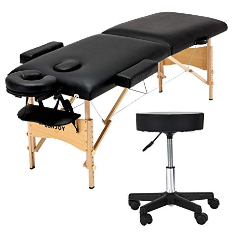 "Uenjoy Folding Massage Bed with Stool, 84"" Professional 2 Fold Lash Bed with Head-& Armrest, Black"