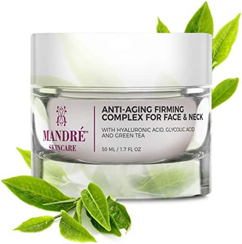 Mandré Anti Aging Face Cream with Hyaluronic Acid, Vitamin C & Collagen, Moisturizing Anti Aging Complexes to Reduce Wrinkles & Fine Lines - Neck, Chest & Décolleté Skin Care for Women & Men