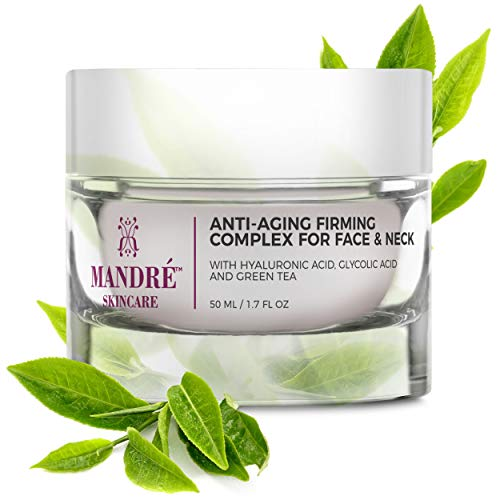 Mandré Anti Aging Face Cream with Hyaluronic Acid, Vitamin C & Collagen, Moisturizing Anti Aging Complexes to Reduce Wrinkles & Fine Lines - Neck, Chest & Décolleté Skin Care for ()