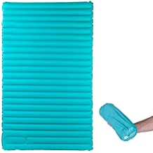 """Double Sleeping Pad for Camping by Hikenture -79"""" x 47.5"""" x 3.75"""" Backpacking Hiking Air Pad Mattress for 2 - Travel Compact Two Person Thick Sleeping Mat - Tent,Truck,Futon, Family Use"""