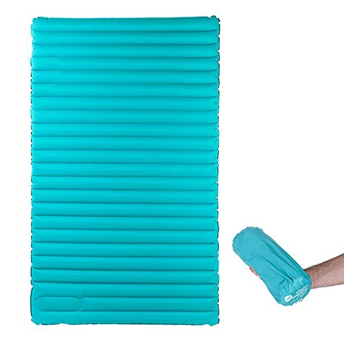 HIKENTURE Double Sleeping Pad - Inflatable Camping Air Mattress with Built-in Foot Pump- Light and Compact - for Backpacking, Self-Driving Tour, Hiking, Tent (Light Blue)
