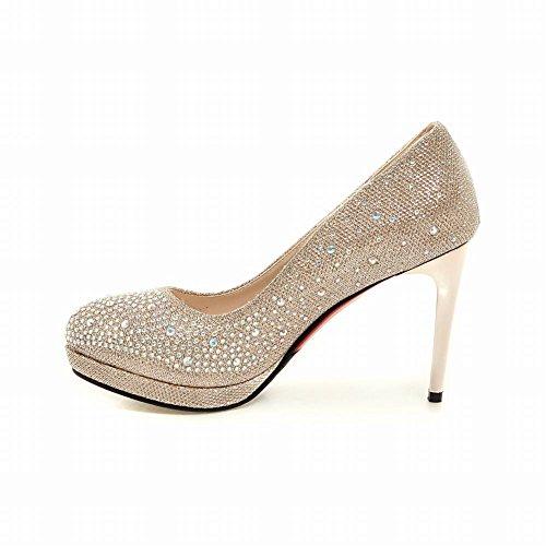 Carolbar Womens Rhinestones Bridal Wedding Stilettos High Heels Dress Shoes Gold Qn36BvbbjO
