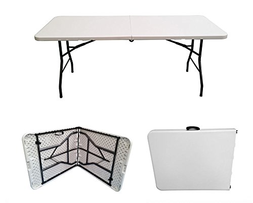 Bline 72'' x 30'' Portable White Plastic Indoor Outdoor Folding Table