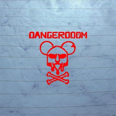 DIE CUT DECAL STICKER HELMET RED CAR DECORATION VINYL WALL WINDOW WALL ART ADHESIVE VINYL DANGER DOOM MOUSE MASK MF HIP-HOP ART (Danger Doom The Mouse And The Mask)
