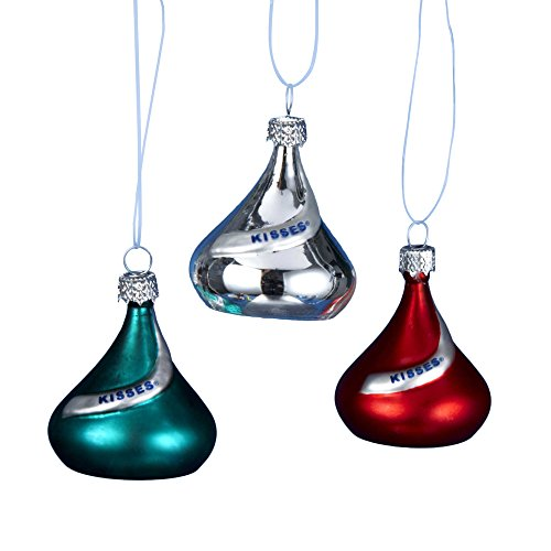 Kurt Adler Glass Hershey's Mini Kisses Ornament, 1.5-Inch, Set of (Candy Glass Ornaments)