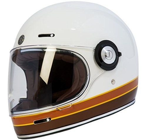TORC T102ISO26 Retro Unisex-Adult Full-Face Style Motorcycle Helmet with Graphic (ISO Bars Gloss White, XX-Large), 1 Pack