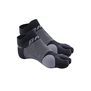 OrthoSleeve BR4 Bunion Relief Socks (1 Pair,Black,Small) Split-Toe Design Separates Toes, relieves Bunion Pain and a targeted Bunion pad Reduces Toe Friction and relieves Hallux valgus Pain