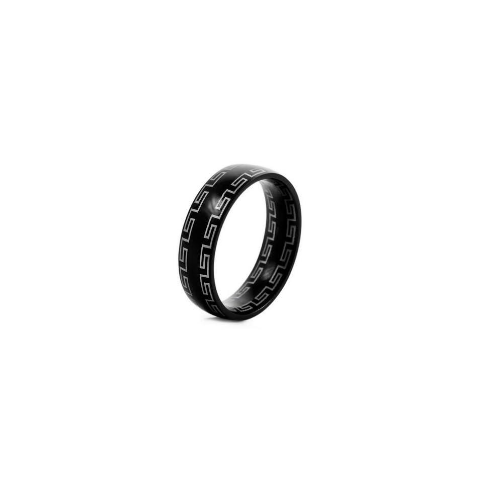 MENS Black Stainless Steel GREEK Rings Wedding Band Size 9
