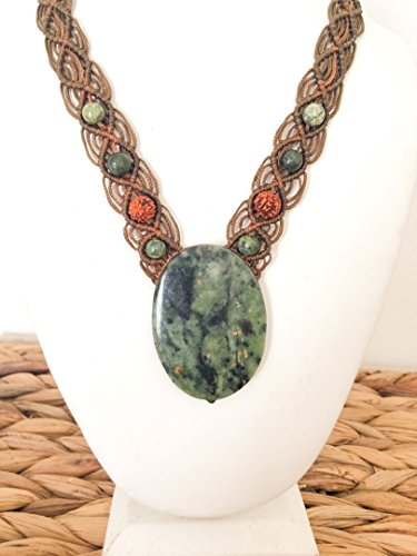 South African Jade necklace, Jade macrame necklace, Large stone necklace, Big oval green stone, Dark green, Buddstone jade, Rudraksha seed