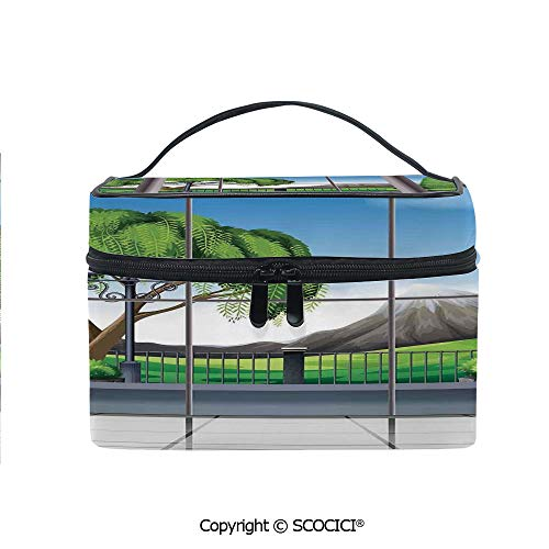 Printed Portable Travel Makeup Cosmetic Bag Room with Window View of Mountains and Field Landscape Contemporary Architecture Decor Durable storage bag for Women Girls