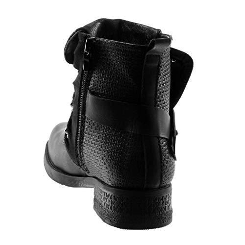 5 Cm Street briglia Moda Nero Tacco Scarpe Stivaletti Pelliccia 3 Angkorly Donna Biker Scarponcini Blocco Di Multi A Foderato Roccia Perla qYgnawZ