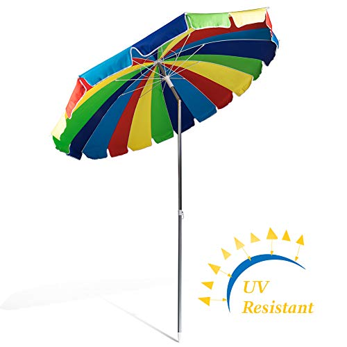 690GRAND Giant Heavy Duty 8FT Rainbow Beach Umbrella with Crank Tilt and Carry Bag 20 Panels Sturdy Polyester Canopy For Patio Camping UPF50+ by 690GRAND