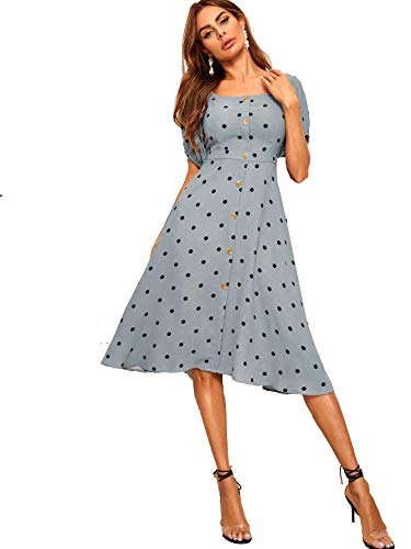 - 41iTIFpElfL - Floerns Women's Polka Dot Button Front A Line Midi Dress