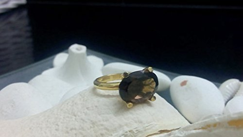- Smoky quartz ring,delicate ring,gold ring,prong round ring,gemstone ring,cocktail brown ring,small ring,gold filled ring
