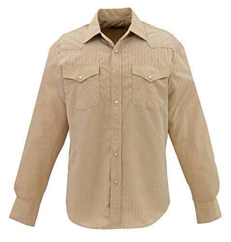 STARR Western Solid Snap Dobby Striped Shirt by SWWTNT17-BEIGE-Size-XXL (Stripe Dobby Classic Shirt)