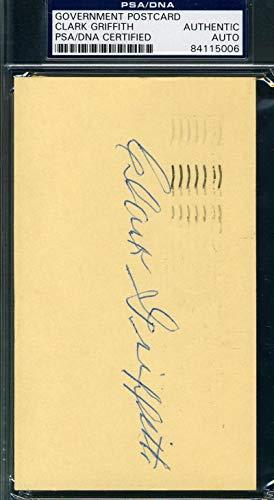 CLARK GRIFFITH PSA DNA Coa Autograph 1953 GPC Postcard Hand Signed