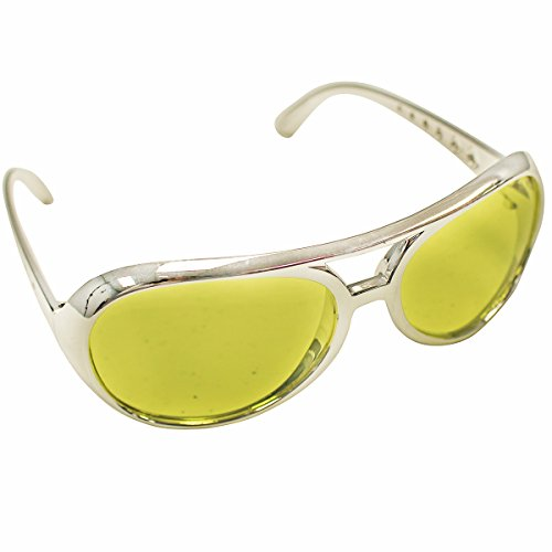 Rock Star Sunglasses - Yellow with a Silver Frame Rockstar Glasses by Funny Party Hats (70s Cop Costume)