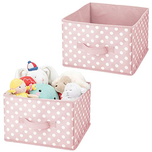 mDesign Soft Fabric Closet Storage Organizer Holder Box Bin - Attached Handle, Open Top, for Child/Kids Bedroom, Nursery, Toy Room - Fun Polka Dot Print - Medium, 2 Pack - Pink with White Dots