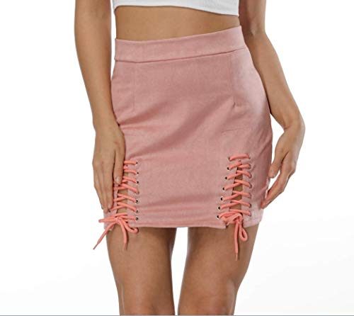 Helisopus Women Sexy Winter High Waist Lace Up Tight Bodycon Faux Suede Short Pencil Mini Skirt