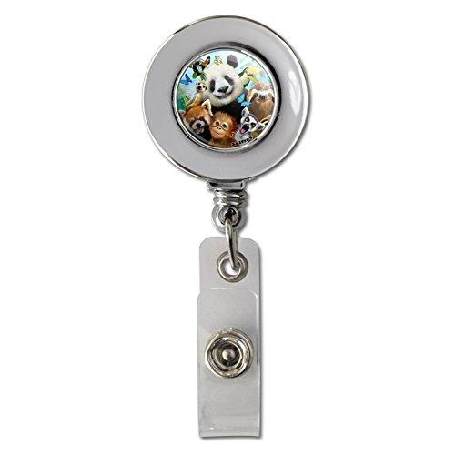 Card Monkey Holder (Zoo Animals Selfie Panda Bear Sloth Meercat Monkey Lemur Retractable Reel Chrome Badge ID Card Holder Clip)