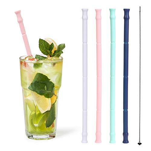 Reusable Silicone Straws Enow Drinking Collapsible Portable Straws Extra Long 10 with 4 Cleaning
